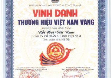 """Công ty CP Nồi Hơi Việt Nam nhận chứng nhận """"Thương Hiệu Việt Nam Vàng"""""""